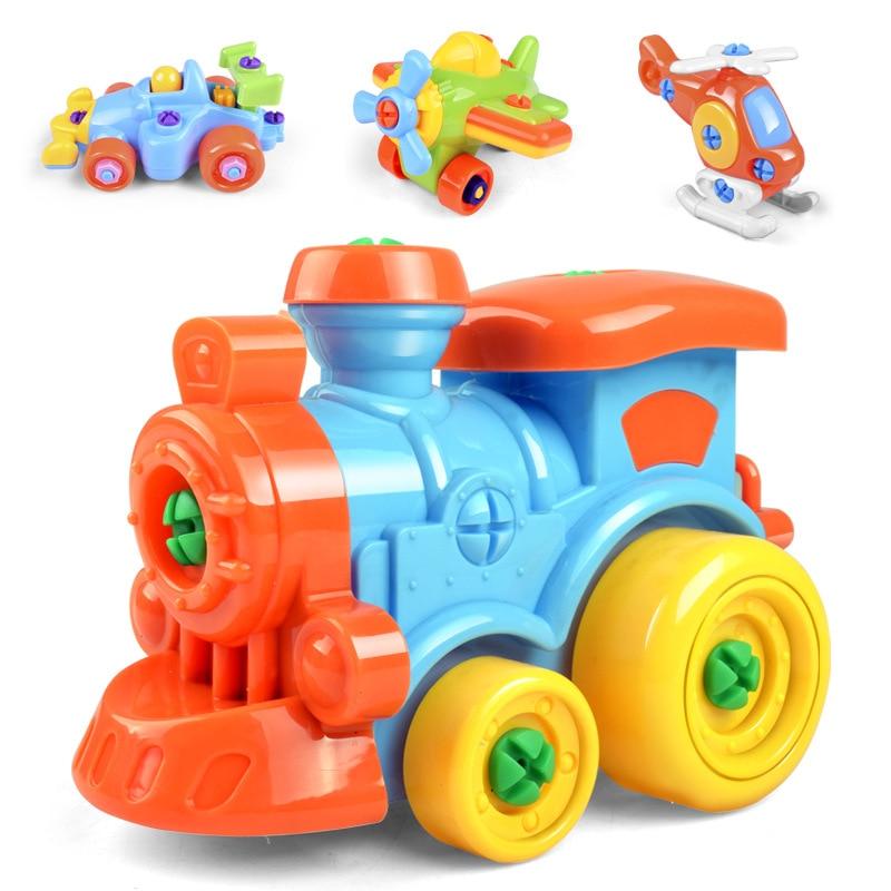 Children Train Car Toy DIY Disassembling Plane Car Building Blocks Model Tool with Screwdriver Assembled Educational Toys YH-17