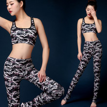 Fitness Bra Pants Leggings Set 2Pcs Women Yoga Sets Gym Workout Sexy Sports Wear Camuflaje Leggings