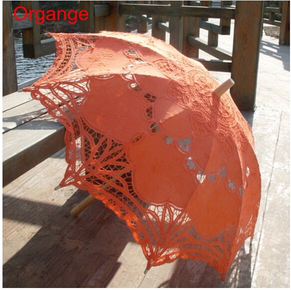 New Lace Umbrella Cotton Embroidery White/Ivory Battenburg Lace Parasol Umbrella Wedding Umbrella Decorations Free Shipping 24