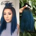 Brasileño recto raíces oscuras azul ends 3 unids pelo remy del pelo humano azul ombre weave 2 tonos ombre paquetes Armadura Del Pelo De Color azul