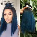 Straight Brazilian dark roots blue ends human hair 3pcs remy hair blue ombre weave 2 tone ombre blue Colored Hair Weave bundles