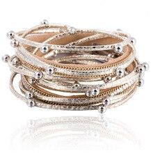 HOCOLE Design Fashion Multiple Layers Leather Bracelets & Bangle Charm Rhinestone Bracelet For Women New Femme Party Jewelry