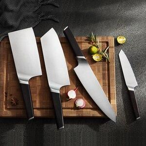 Image 4 - XINZUO 4 adet mutfak bıçağı seti paslanmaz çelik alman 1.4116 çelik yüksek kaliteli şef Santoku Nakiri Boning bıçaklar abanoz kolu