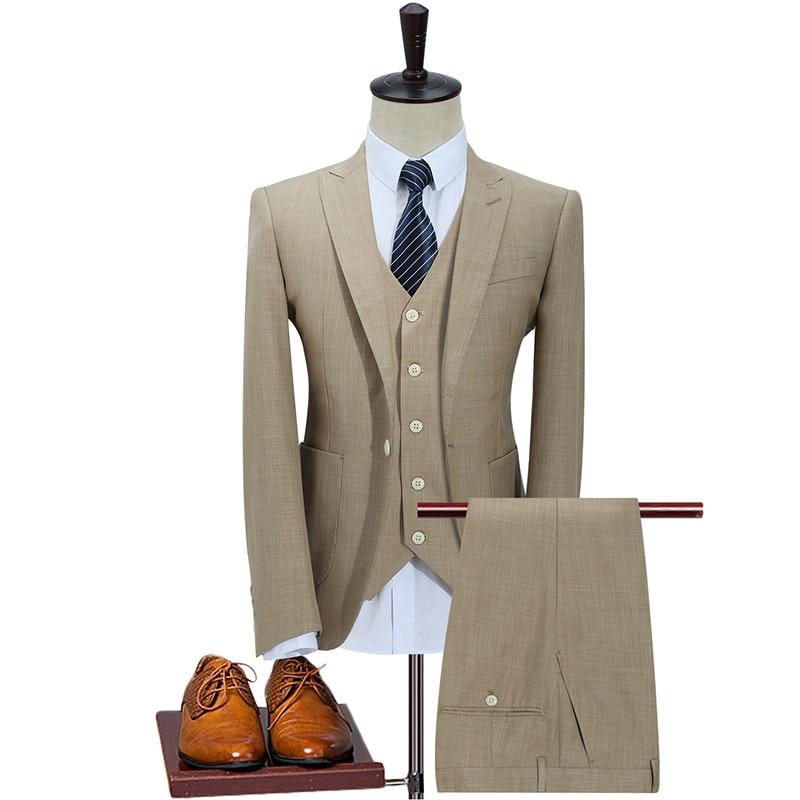 2018 New Custom Made Tweed Suits Men Formal Skinny Wedding Tuxedo Gentle Modern Blazer 3 Piece Men Suits(Jacket+Pants+Vest)