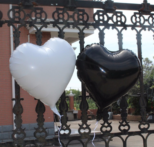 Vintage Damask Wedding Party Decoration White And Black Heart Air Helium Foil Balloon 21st 25th 30th 60th 70th Birthday Decor