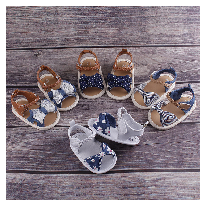 New Baby Girls Summer Print Bowknot Girls Shoes Anti-Slip Soft Sole Toddler Shoes Cute First Prewalker Shoes
