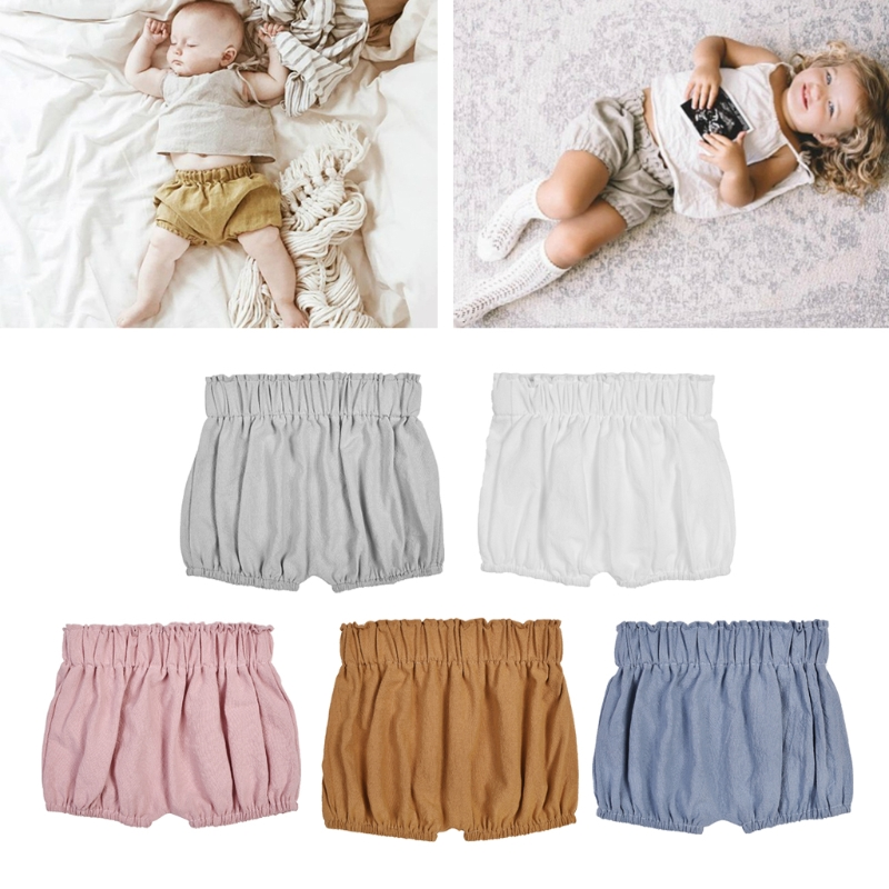 2018 Baby Boy Girls Cotton Shorts Infant Ruffle Bloomers Toddler Summer Panties MAY14-A ruffle hem solid shorts