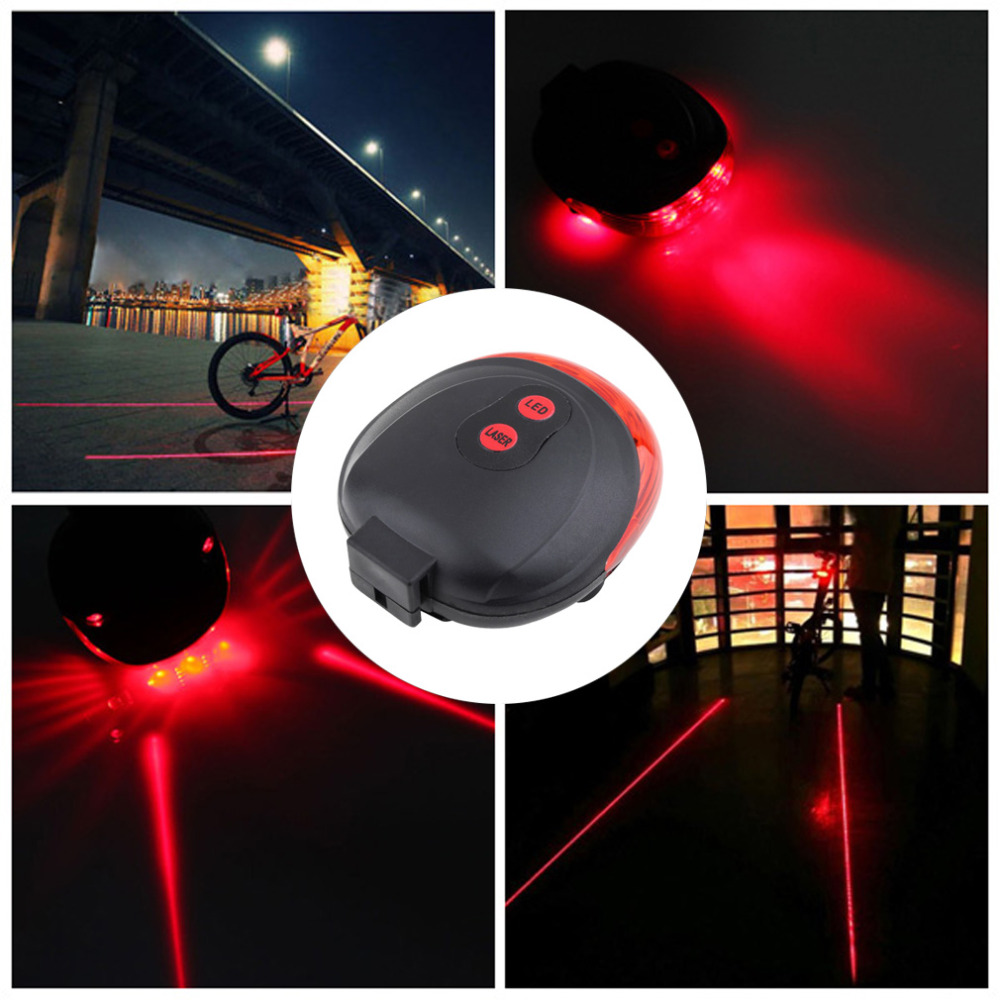 5LED+2Laser Bicycle Light 7 Flash Mode Safety Rear Lamp Laser Tail Warning Lamp