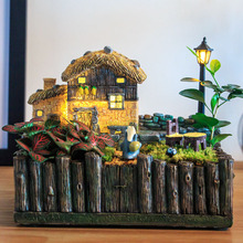 NCYP Fairy Garden Planter European Countryside Middle Age Style with LED Miniature Log Cottage with Wood Fence Flower Pot Bonsai
