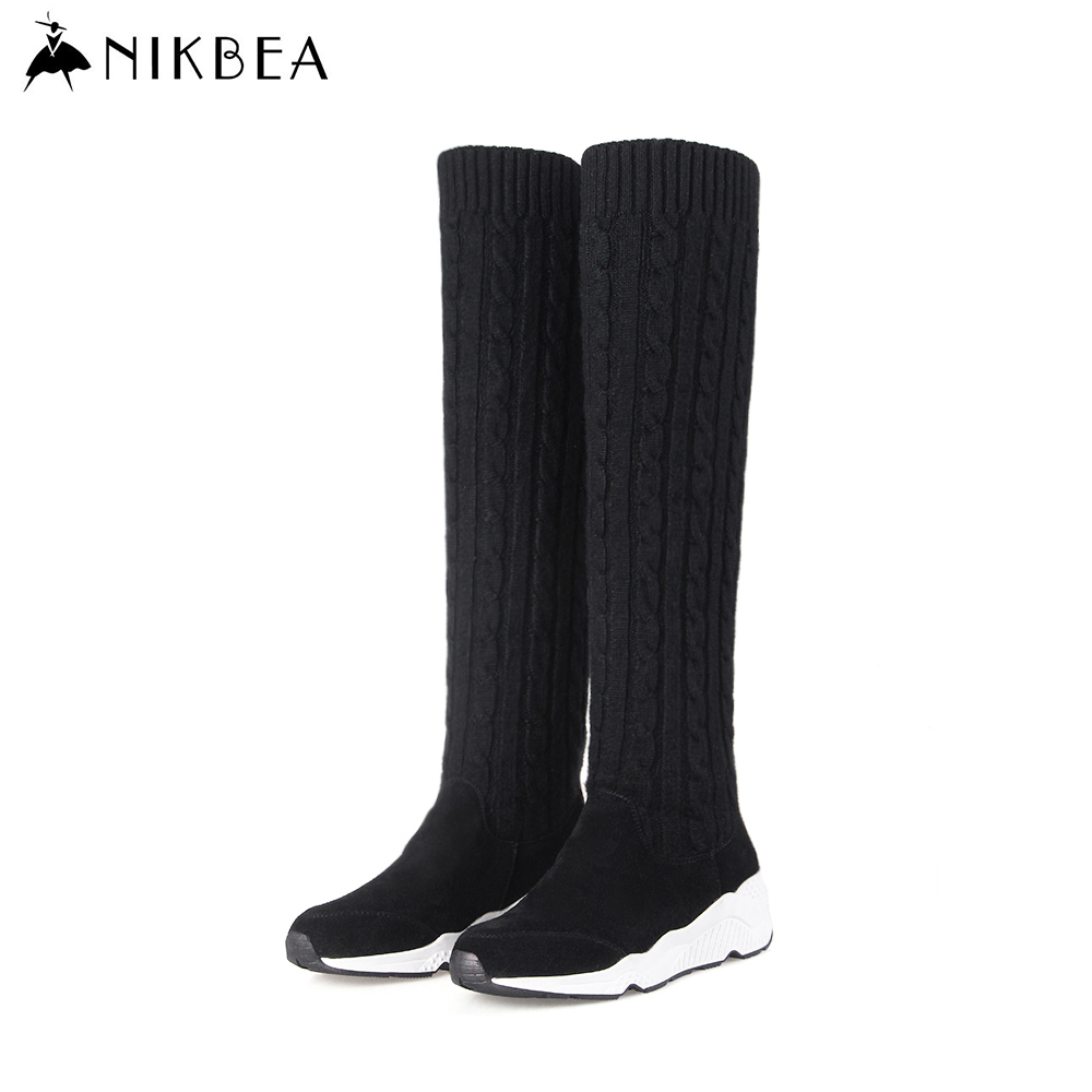 ФОТО Nikbea Black Sock Boots Women Sexy Thigh High Over The Knee Boots Long 2016 Winter Boots Women Handmade Botas Mujer Wedge Casual