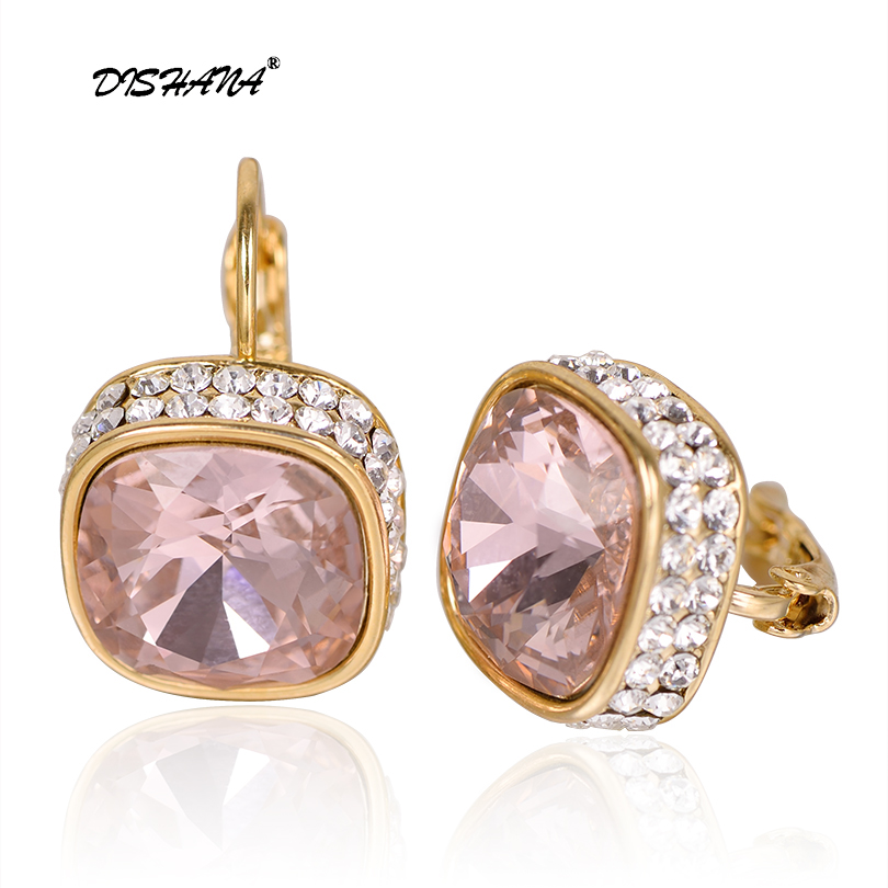 crystal jewelry display dangle earring gift fashion charms women white stone big earing wholesale Drop Earrings(E0176) baguetee cz red passion hoop earrings for women multi color stone earring fit wedding fashion rainbow big earing jewelry 2018
