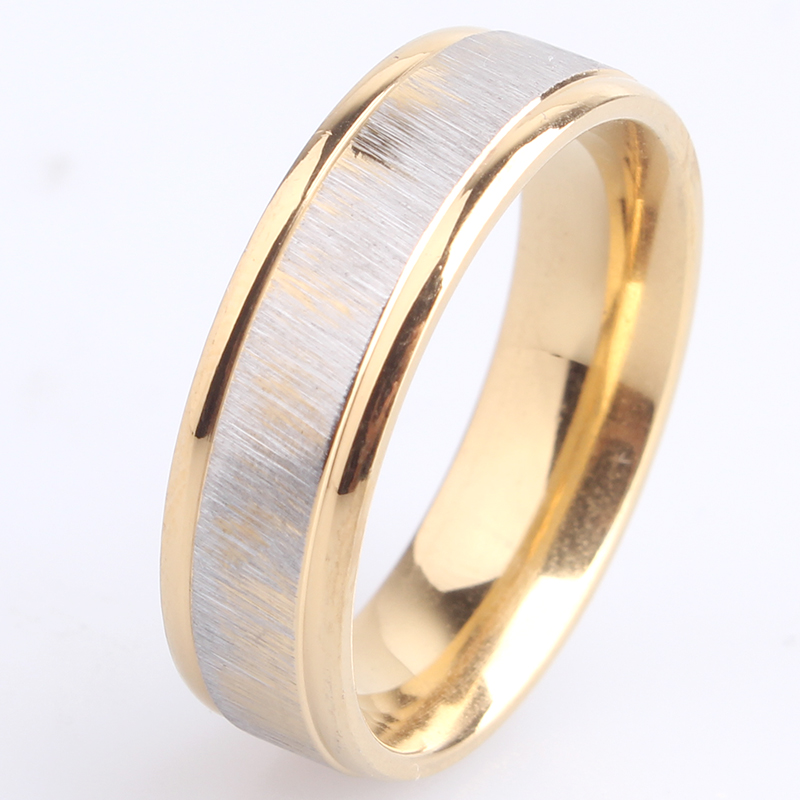 bd05538d4a free shipping 6mm gold color brushed 316L Stainless Steel wedding rings for  men women wholesale