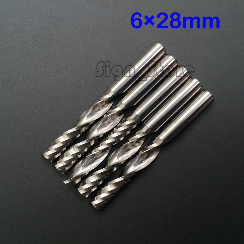 5pcs 6mm 1/4 High Quality Carbide CNC Router Bits One Single Flute End Mill Cuttign Milling Tools 28mm 16 65h 115l one flute spiral bits milling tools cnc carving tools router bits