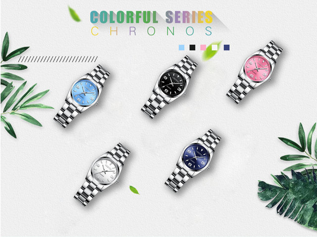 Elegant Stainless Steel Analog Luxury Lady Watch Pink,Silver,Blue Dail