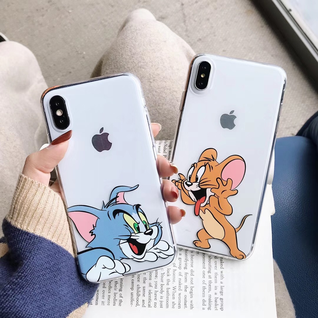Funny Cute Cartoon Tom Jerry Phone Case For iPhone X XR Xs Max 8 7 6 6s Plus Ultra Thin Slim Fit Soft TPU Back Cover Coque Capa