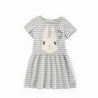 Kinderkleding kinderen 's zomer korte mouwen jurk meisjes meisje konijn gestreepte katoen gebreide jurk