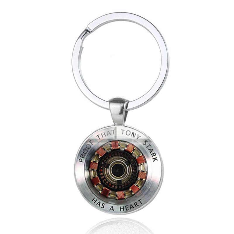 Marvel Os Vingadores Homem de ferro Tony Stark Keychain Endgame 4 Quantum Série Reino Anel Chave Corrente Chave Do Carro Titular para homens Jóias