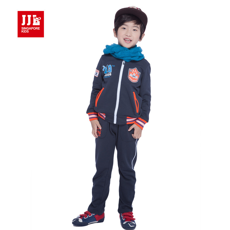 boys tracksuit kids sports suit fashion coat+pants 100% cotton size 4-11 years children clothing 2015 spring kids clothes spring children girls clothing set brand cartoon boys sports suit 1 5 years kids tracksuit sweatshirts pants baby boys clothes