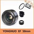 Yongnuo yn ef 50mm f/1.8 apertura de la lente de enfoque automático af yn50mm f1.8 lente + bolsa + parasol para canon eos dslr cámaras