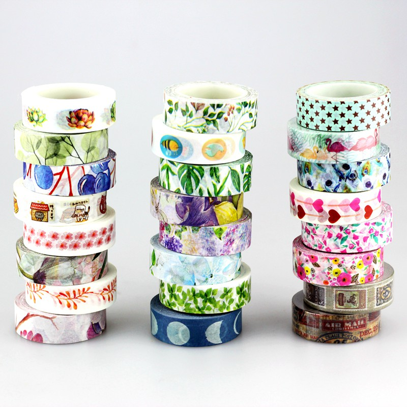 Summer Japanese Washi Tape Tropical Palm Leaves Flower Flamingo Stamp Masking Tape Adhesive Stickers Decor Stationery 1.5cm*10m