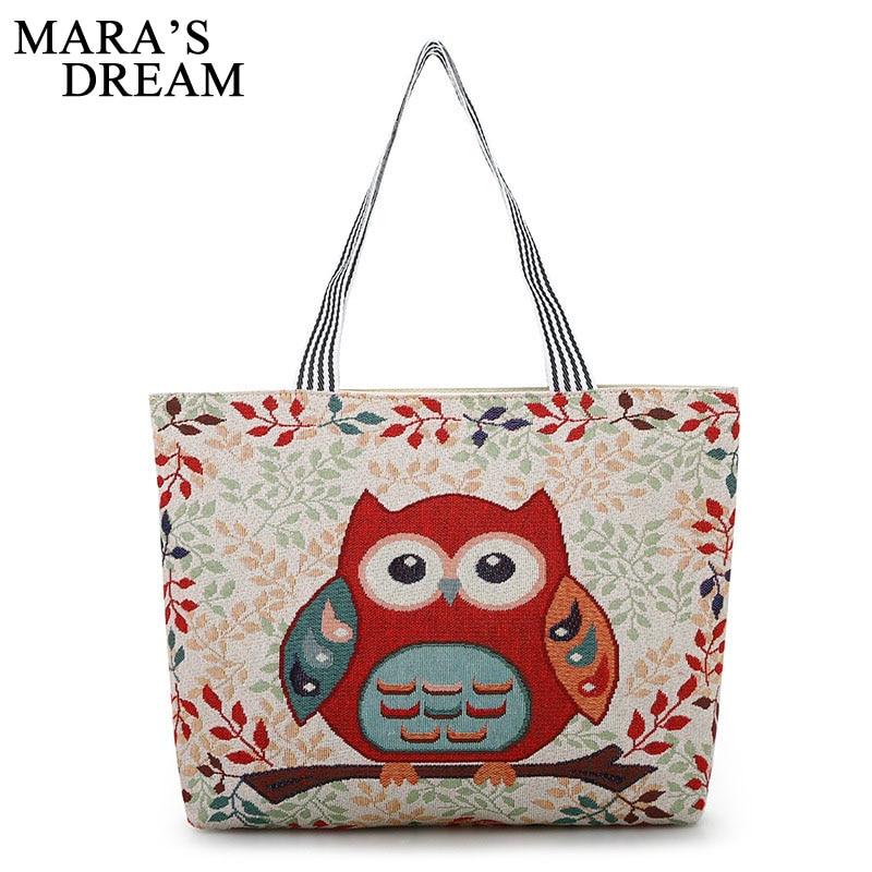 Mara's Dream Women Bag Women's Canvas Handbag Embroidery Owl Tote Lady Shopping Bag Shoulder Bags 2018 Summer Holiday Beach Bags