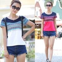 2016 Female Clothes Cotton Slim Female Short Sleeve T Shirt Plus Size National Trend Basic Shirt