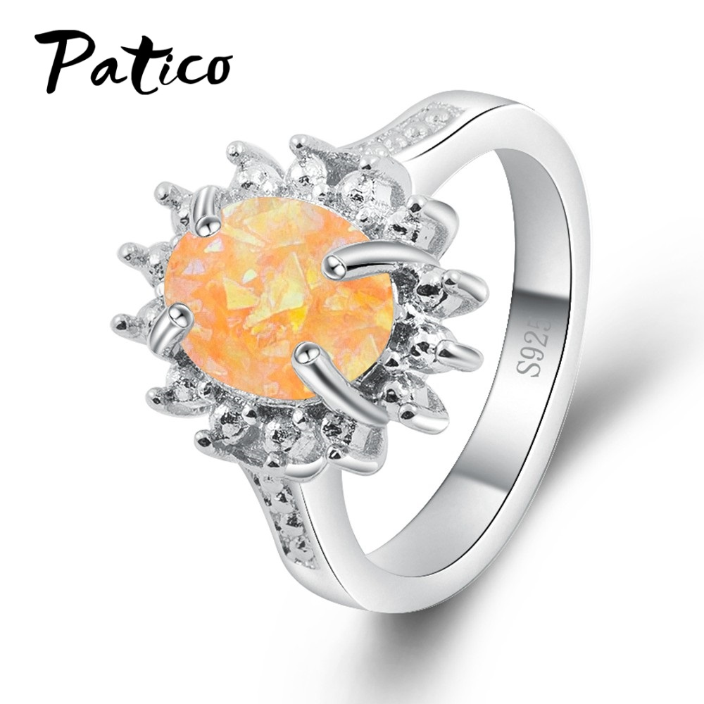 PATICO Vintage Rings for Women Bohemian 925 Sterling Silver Color Opal Stone Antique Flower Statement Rings Finger Jewelry