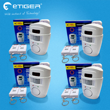 Etiger Беспроводной ПИР/движения Сенсор сигнализация + 2 Пульты дистанционного управления локальной охранной сигнализации 105db Siren