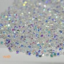 1.0 〜 1.6 ミリメートル 1440 個 ab シャトンガラス妖精ネイルアートラインストーンマイクロマニキュアデコレーションタイニービーズチェーンメタルミニラインストーン