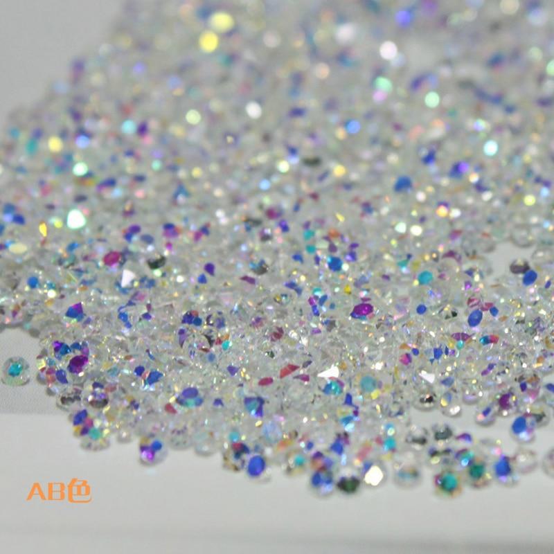 1.0 to 1.6mm 1440pcs AB Chaton Glass pixie Nail Art Rhinestone Micro Manicure Decoration Tiny Mini Rhinestones