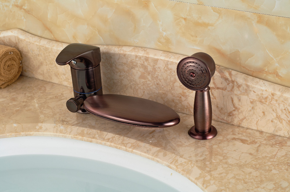 Luxury Oil Rubbed Bronze Waterfall Bathroom Faucet Tub 3 pcs Sink ...