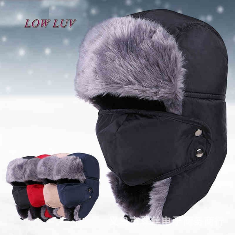 2017 Russian male Earflap winter black fur hat coat warm warm thick winter winter lady hood mask men bicycle cap AL129