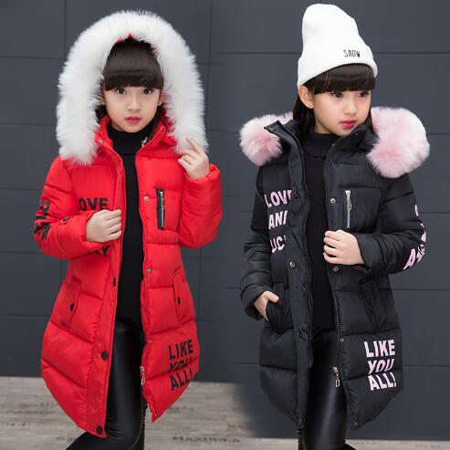 2018 New Jackets Girls Autumn Winter Coat Cotton Padded Fur Hooded Kids Outerwear For Girls Clothes Children Clothing Parkas moos джинсовые брюки