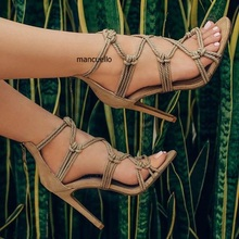 Unique New Design Apricot Rope Style Thin High Heel Shoes Fancy Women Open Toe Rope Cross Strap Dress Sandals Classic Back Zip