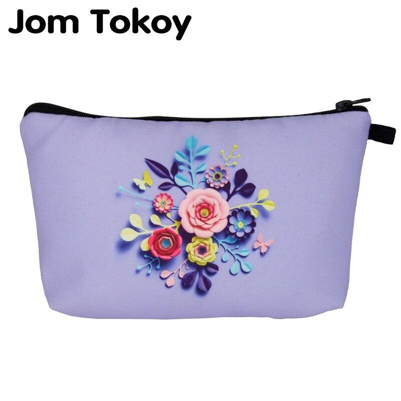 Jom Tokoy 2019 Cosmetic Organizer Bag Flowers 3D Print Cosmetic Bag Fashion Women Brand Makeup Bag