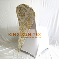 New Design Bronzing Coated Lycra Spandex Chair Cap \ Chair Hood For Banquet Chair Cover Decoration