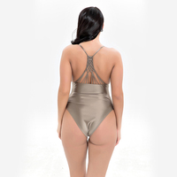 2018 Sexy One Piece Swimsuit Women Swimwear Female Solid Thong Backless Plus Size Brazil Luminescent Fabric