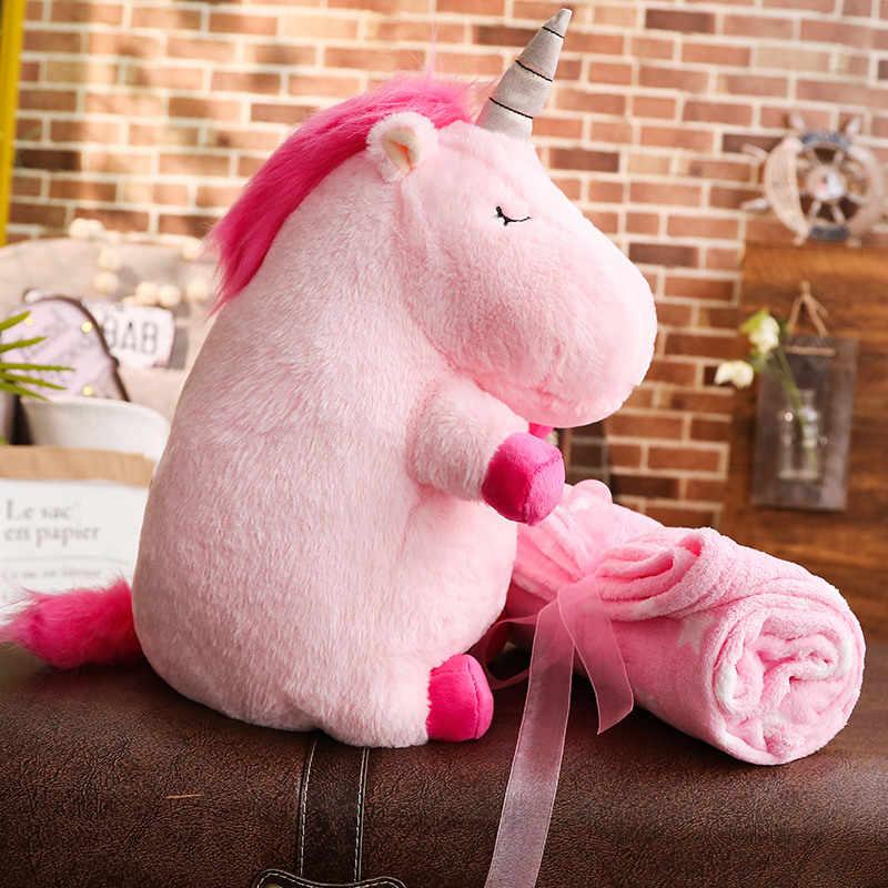Peluche Animal muñecas Kawaii dibujos animados unicornio peluche suave almohada con manta niños presente bebé cumpleaños regalo