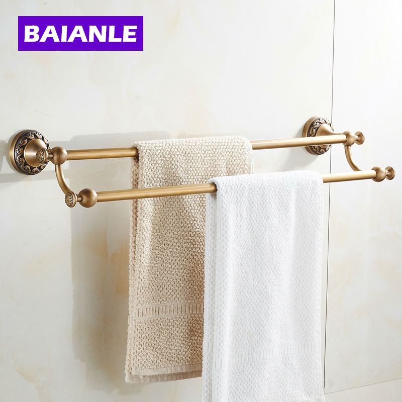 Double Towel Bar Antique Copper Finishing/Towel Holder Towel Rack Bathroom Accessories Set fully copper bathroom towel ring holder silver