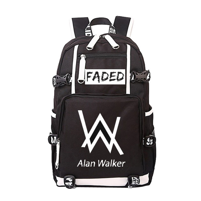 Women Men Alan Walker Faded Backpack Rucksack Mochila Schoolbag Bag For School Boys Girls Student Travel women men anime black bulter sebastian michaelis backpack rucksack mochila schoolbag bag for school boys girls student travel