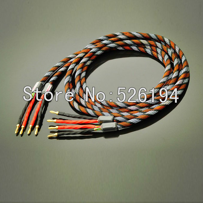 Free shipping Pair Western Electric R-Copper Audio Speaker Cable with banana plug connector free shipping pair 24 core pair nordost red dawn speaker audio cables diy bfa banana plugs