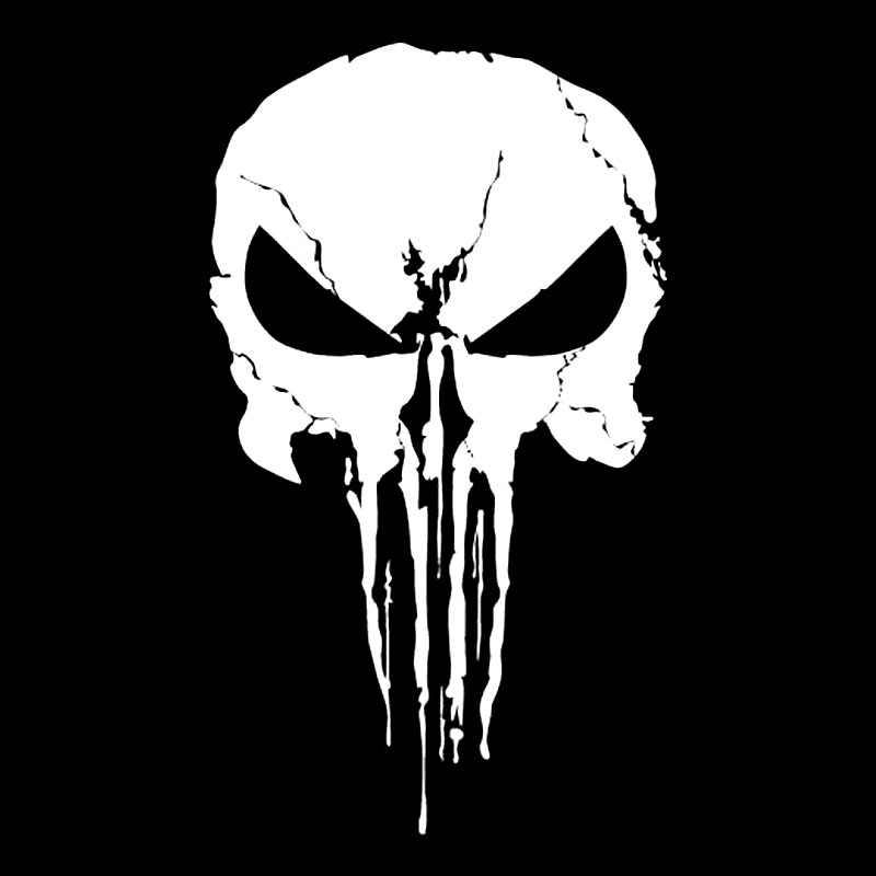 10.3*17.9 CM Ilginç Punisher Dekorasyon Kafatası Siyah/Gümüş Grafik Araba Sticker Vinil C16-0094