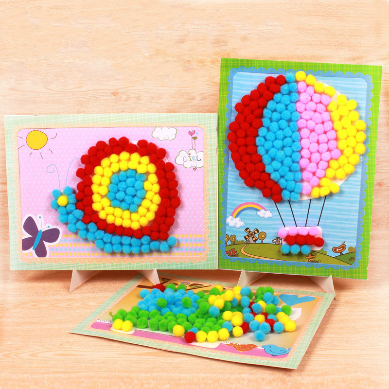 8 Patterns Child Toy DIY Hairball Handicrafts Girl Gifts Sticky Paper Painting Kindergarten Material Kids Crafts Toys