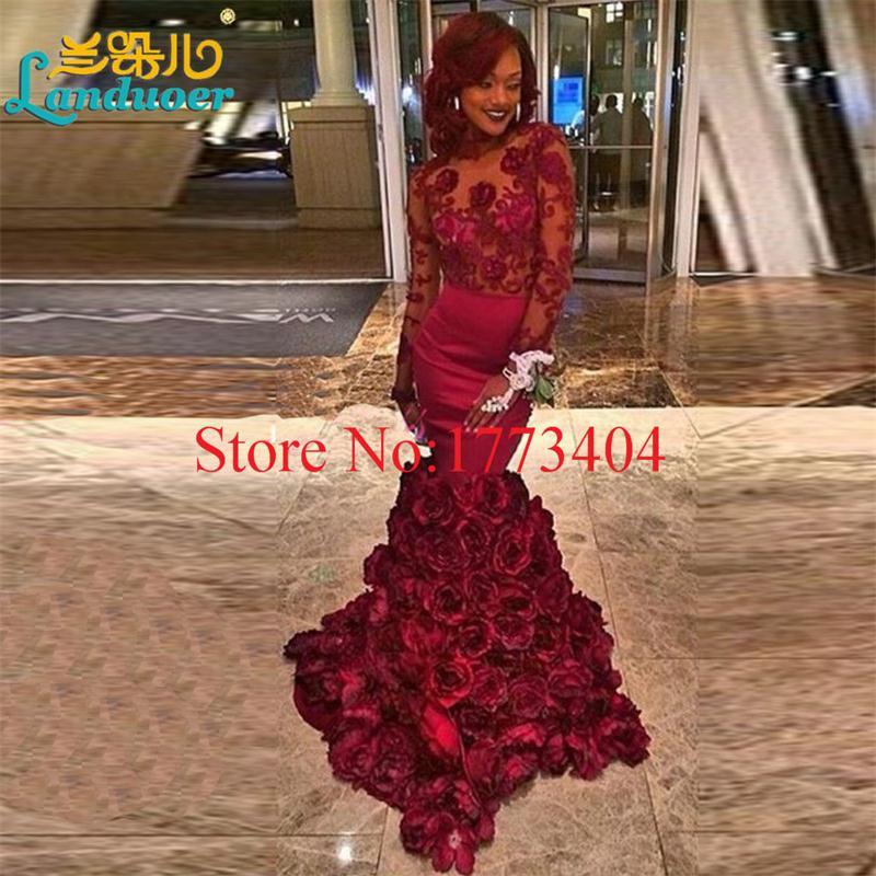 Sexy-Backless-Mermaid-Burgundy-Flower-1Prom-Dresses-Custom-Made-Long-Sleeve-Flower-Cheap-Dress-Party-Evening