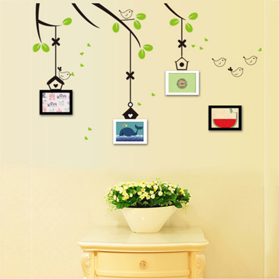 Family Photo Frame Flying Birds Tree Wall Stickers Arts Home ...