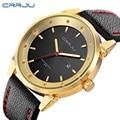 Moda masculina casual crrju masculino pulseira de couro relógio de quartzo-relógio de luxo da marca relógio de ouro relógios de pulso reloj relógio homens esportes hombre