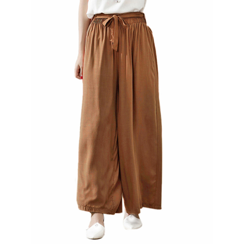 ZANZEA 2019 Womens Clothing Female Casual Loose   Wide     Leg     Pants   Solid Elastic High Waist Bow Bottoms Long Trousers Work Pantalon