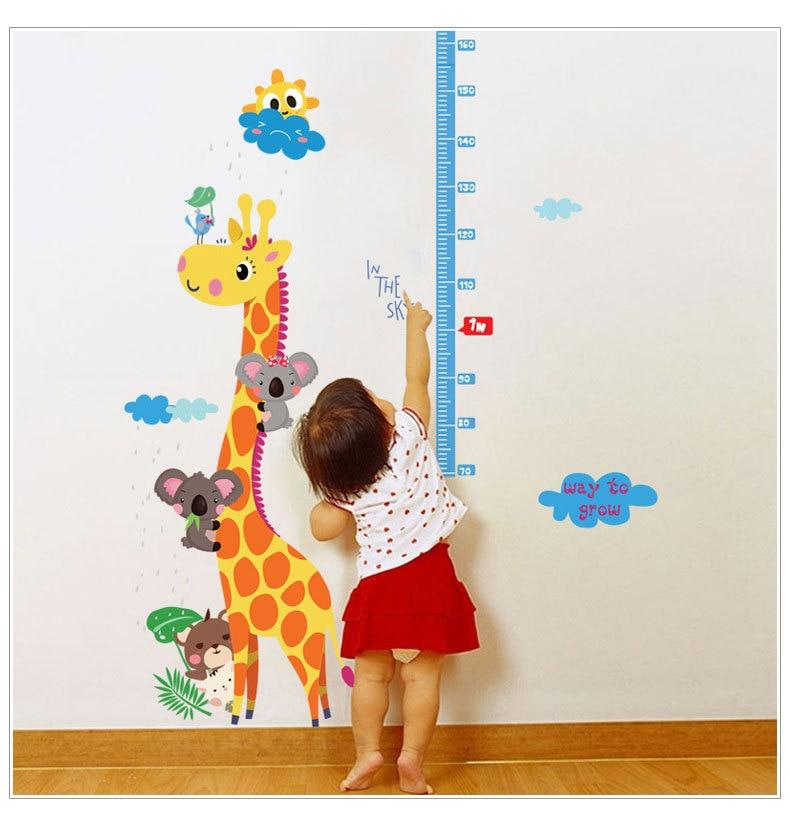 Giraffe Cartoon Measuring Height Measure Stickers Removable Wallpaper Children Kid Room  ...