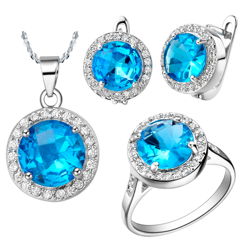 Nice New Siler Plating Simple Design Wedding Jewelry Sets,fashion Ocean Blue Crystal Necklace,earrings,rings,classic Retro Style And Digestion Helping Jewelry & Accessories