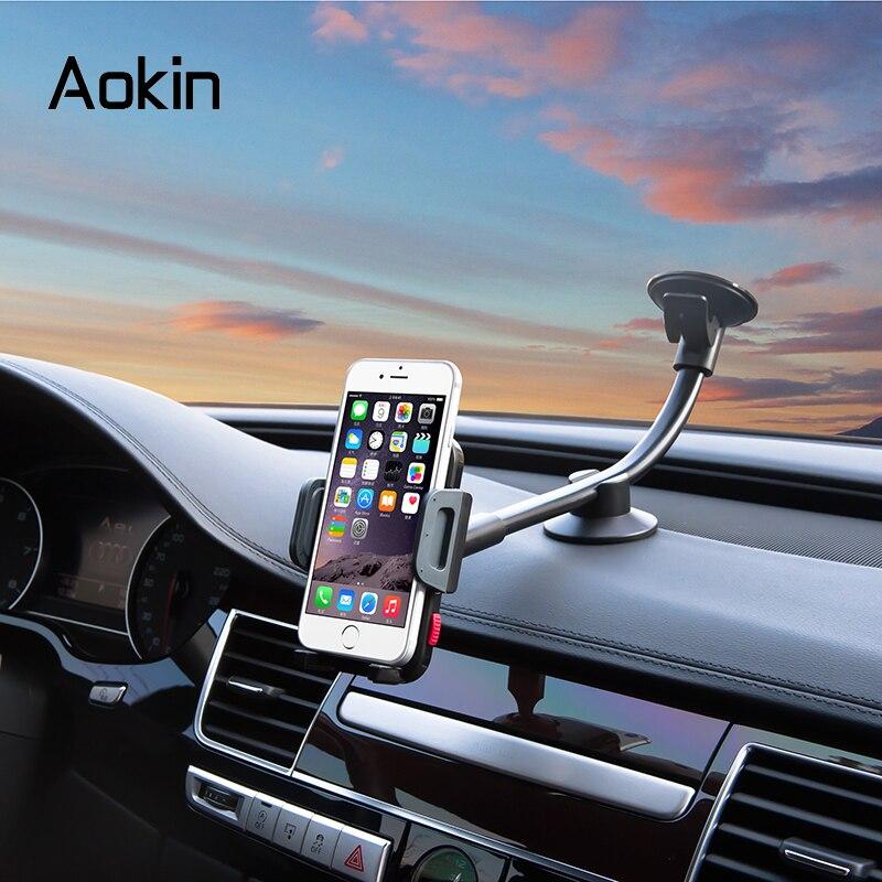 bilder für Aokin Halter Lange Arm Universalwindschutzscheiben-dashboard Cradle Telefonhalter Für iPhone 7 Huawei Smartphone Stand